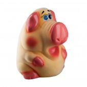 Копилка флок Свинка большая - персиковая