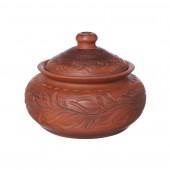 Горшок Глечик гончарный, орнамент, резка, 500мл