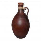 Графин винный, гончарный, гладкий, декор верёвка, кр.глина, 3л