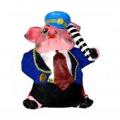 Копилка Свинья-гаишник, с декором