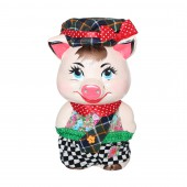 Копилка Свинка в кепке, с декором